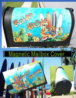 "New ""Board Meeting"" Parrot Surfers Beach Fun Magnetic Mailbox Cover with Numbers"