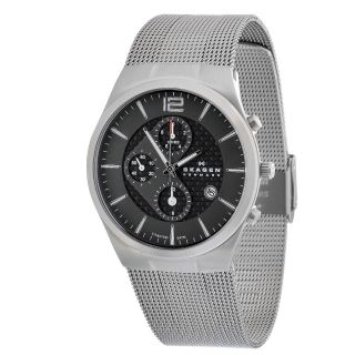 Skagen Brushed Titanium Case Grey Mesh Band Men's Chronograph Watch 906XLTTM