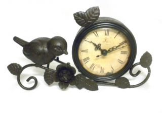 Shabby Chic Antiqued Metal Mantle Clock with Bird Flower Rust Home Decor
