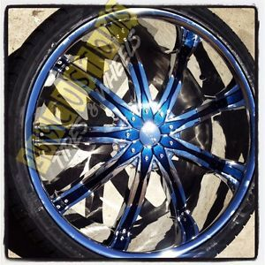 "26"" inch Wheels Rims Tires Blue DW29 6x135 Ford F150 2008 2009 2010 2011 2012"