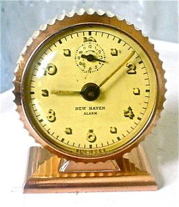 "RARE Antique Art Deco 1931 ""New Haven"" Miniature Alarm Clock Working"
