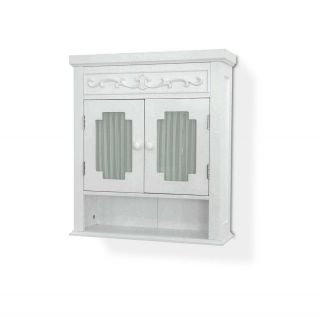 Shelved Wall Medicine Cabinet Glass Paneled Doors White Bathroom Storage New