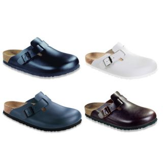 Birkenstock Boston Leather Clogs Soft Footbed Black White Brown Blue