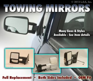 Full Size Pickup Truck Telescoping Manual Towing Tow Side Mirrors Pair Set