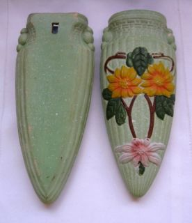 Matched Pair Art Deco Wall Pocket Vases Pottery Floral Designed