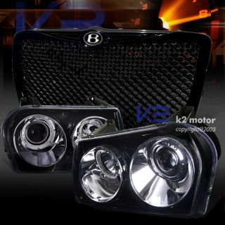 2005 2010 Chrysler 300 Smoke Projector Headlight Glossy Black Mesh Grill B Bagde