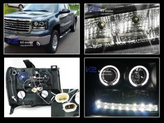 2007 2012 GMC Sierra Denali 2X Halo Projector Headlights Blk LED DRL