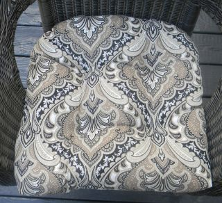 Indoor Outdoor Wicker Seat Chair Cushion Black Taupe Gray White Paisley