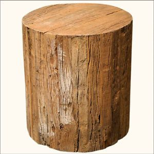 Unique Solid Hardwood Tree Trunk Natural Wood Round Step Bench Garden Stool