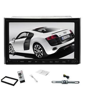 "7""Touch Screen Double DIN in Dash Car Stereo iPod Radio  CD DVD Player Camera"
