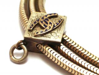 Victorian Watch Men`s Pocket Slide Chain Horse Shoe 14k Gold Filled Fob Jewelry