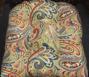 Indoor Outdoor Wicker Seat Chair Cushion Tan Red Blue Green Paisley