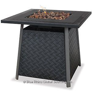 "Uniflame 32"" LP Gas Outdoor Fire Pit Black Steel Top Patio Table Lava Rock New"