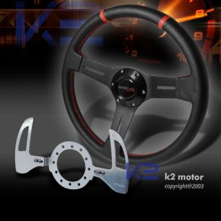 330mm PVC Leather Steering Wheel Black Silver SMG Shift Paddle