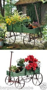 Amish Green Country Garden Wagon Planter Wood Plants Flowers Yard Outdoor Decor