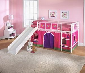 Twin Loft Bed Kids Curtain Flowers Pink Toddler Play Area Girl Room Bedroom Beds