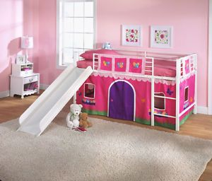 Kids Twin Loft Bed Curtain Flowers Pink Toddler Play Area Girl Room Bedroom Beds