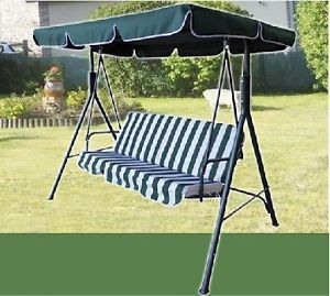 Swinging 3 Seater Garden Hammock Swing Seat Outdoor Bench Chair Patio Set Green