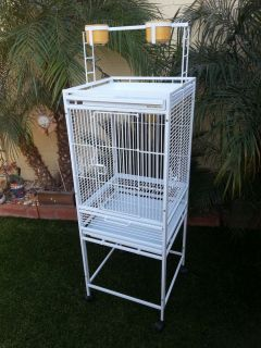 Play Top Bird Cage White Metal Stand Cockatiel Small Parrot Size
