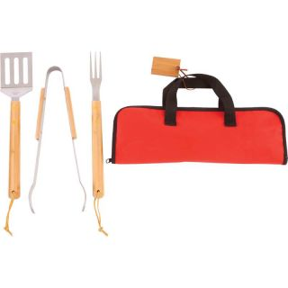 4 Piece Outdoor Grilling Barbecue BBQ Cooking Utensil Set with Bamboo Handles