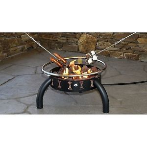 Portable LP Gas 55 000 BTU Outdoor Ring Fire Pit w Lava Rocks Brand New