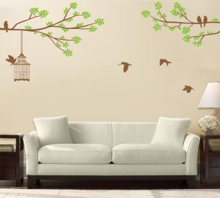 Wall Art Tree T1 Two Color LRG Bird Cage Vinyl Decor Decal Sticker Mural T1C