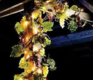 Lighted Grapes Vineyard Leaf Garland Indoor Outdoor Lights String Party Decor