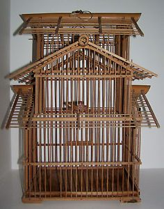 Vintage Bamboo Bird Cage Tiered Hanging Bird House Spacious Clean w Accessories