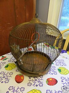 Antique Bird Cage Art Deco Copper Round Hanging Bird Cage Canary Victorian 19c