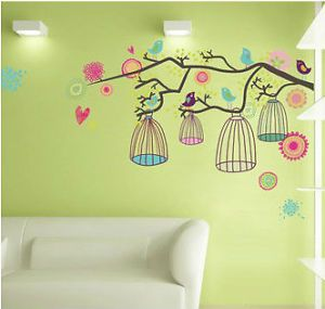 Colourful Tree Flowers Bird Cage re Positionable Girls Bedroom Wall Stickers