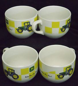 4 John Deere Tractor Large Soup Cup Bowls by Gibson