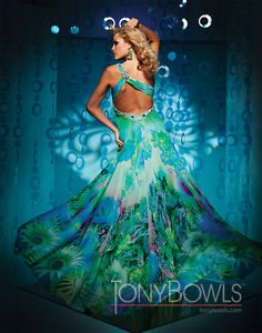 Paris by Tony Bowls 111721 Green Print Chiffon Cruise Prom Party Gown Dress
