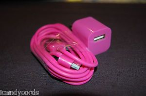 Hot Pink Bright iPhone Color 6 Foot Long Cord Wall Charger Block Phone 4 4S