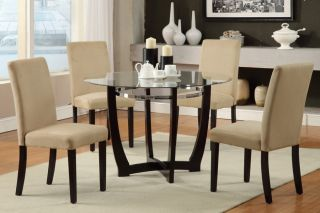 5pcs Modern Glass Top Round Table Dining Set Parson Chair Kitchen 4 Colors