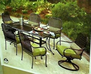 Hampton Bay Fall River 7 Piece Patio Dining Set with Dragon Fruit Cushions