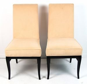 Pair Mid Century Modern Parsons Chairs with Black Lacquer Frames