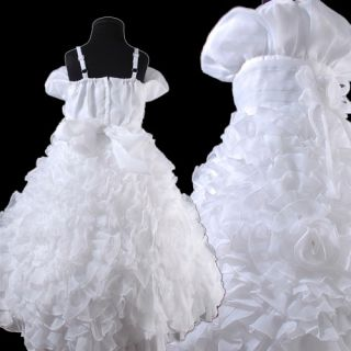 New Cute Flower Girls Wedding Party Dress with Several 3D Roses White