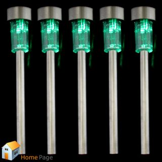 5pcs Solar Powered Green LED Steel Lamp Light Outdoor Home Garden Path Christmas