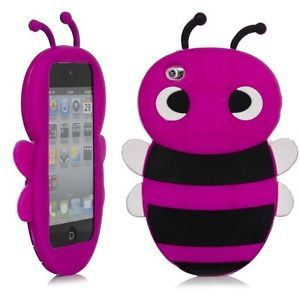 3D Hot Pink Bumble Bee Cartoon Silicone Cover Case Apple iPod Touch 4 iTouch 4