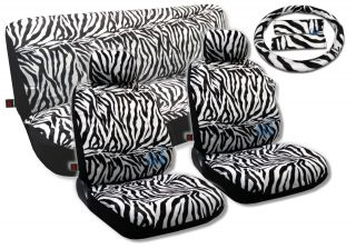 White Zebra Animal Print Seat Covers Steering Wheel Set Fur Solid Bench 13pc