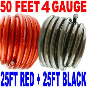50' ft 4 Gauge 25' Red and 25' Black Car Audio Power Ground Wire Cable Feet AWG