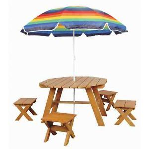 Childrens Outdoor Wooden Picnic Table w Umbrella New