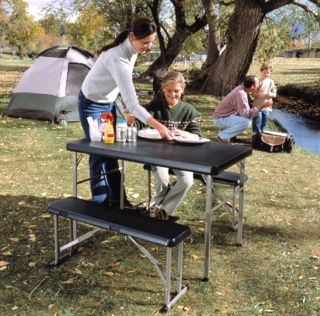 New Portable Camping Dining Table Folding Picnic Table 2 Bench Seats Tailgate