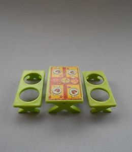 Vtg FP Little People 992 Car Pop Up camper Lime Green Picnic Table Benches