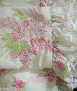 Shabby Chic Pillow Cases King Shams Lilacs White Pale Pink Ruffle Rachel Ashwell