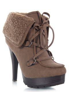 Anne Michelle Cuff Military Heel Hiker Booty Ankle Boot Brown Sz Tan REVENGE47