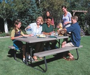Lifetime 22119 6 ft Commercial Grade Putty Folding Picnic Table w Bench Seats 8