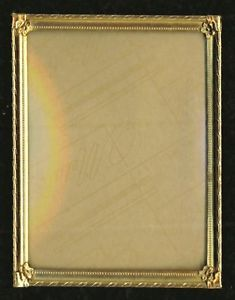 Vintage Brass Picture Frame Convex Glass Flower Diamond Art Deco Gold 3x4