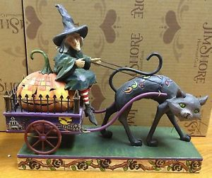 Jim Shore Wicked Ride Witch on Cart w Cat 2008 Enesco Figurine Retired