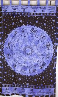 Zodiac Purple Indian Tapestry Cotton Fabric Block Print Wall Hanging Unique Art